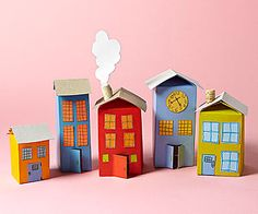 Easy craft projects from everyday items. A few simple snips and a coat of paint transform milk cartons into a colorful village. Easy Crafts To Make, Easy Crafts For Kids, Projects For Kids, Diy For Kids, Diy And Crafts, Craft Projects, Arts And Crafts, Easy Projects, Cardboard Crafts