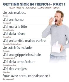 French Language Lessons, French Language Learning, French Lessons, I Have A Headache, Stomach Flu, Feeling Sick, Learn French, Learn English, Core French