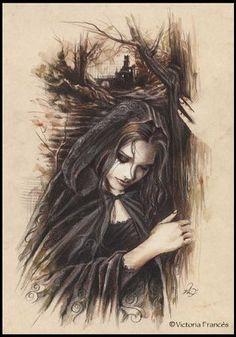 Random Victoria Frances Gothic Artworks: Sit Back and Enjoy the Show! Gothic Artwork, Gothic Fantasy Art, Fantasy Girl, Vampire Art, Vampire Fangs, Luis Royo, France Art, Boris Vallejo, Goth Art