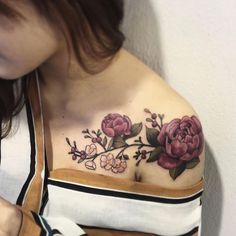 Peonies on shoulder by Ben