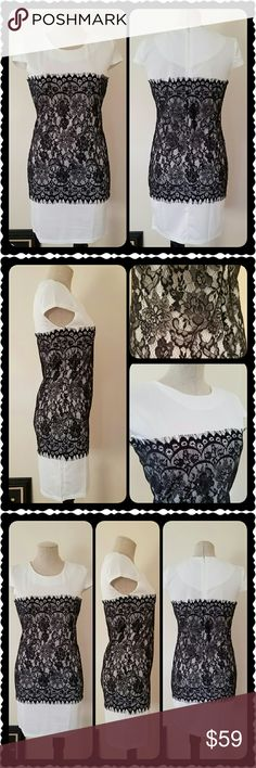 Empire Crochet O-Neck Dress New with tags!  White with black lace!  Size ~ Small  (Says size Med, but I'm a Med & it's too small on me! Would fit small perfect! ) Bundle and Save!  Please chk out my other listings!  Thank you! Dresses Mini