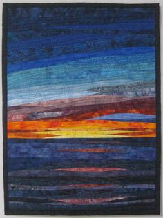 Like that this is only water and sky Art Landscape Quilt Sunset 36 Over Water by ArtQuiltsBySharon Ocean Quilt, Beach Quilt, Patchwork Quilting, Landscape Art Quilts, Landscapes, Serpentina, Quilt Art, Quilt Modernen, Sunset Art