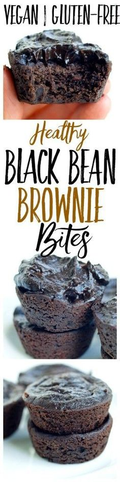 You can make the batter for these black bean brownie bites right in your blender and they are fudgey healthy vegan gluten-free and most importantly kid and husband approved! Gluten Free Desserts, Healthy Desserts, Delicious Desserts, Dessert Recipes, Cupcake Recipes, Bean Brownies, Healthy Brownies, Vegan Treats, Vegan Snacks