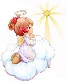 Angel seeing the Shining Star Precious Moments Coloring Pages, Precious Moments Quotes, Precious Moments Figurines, Felt Christmas, Christmas Angels, Imagenes Betty Boop, Angel Art, My Precious, Cherub