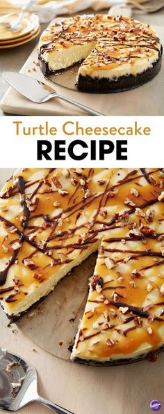 Classic Turtle Cheesecake Turtle Cheesecake Recipe - Learn to make this classic cheesecake dessert, topped with drizzles of fudge and caramel, and sprinkled with pecans. Turtle cheesecake is a hands-down favorite with everyone! Homemade Cake Recipes, Baking Recipes, Dessert Recipes, Baking Tips, Drink Recipes, Easy Recipes, Turtle Cheesecake Recipes, Cheesecake Desserts, Cheesecake Classique