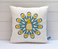 Hand Screen Printed Peacock Cushion Cover in Grey by robinandmould