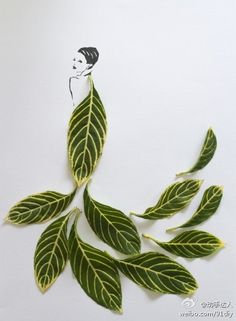 Fashion Sketches That Replace Pencil With Leaves and Petals Image credit: Tang Chiew Ling Flower Fashion, Fashion Art, Dress Fashion, Pop Art Bilder, Colossal Art, Arte Floral, Leaf Art, Fashion Sketches, Fashion Illustrations