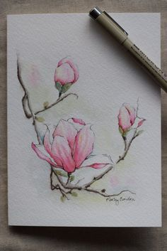 Magnolia 3 blossoms watercolor painting card-Original or Print
