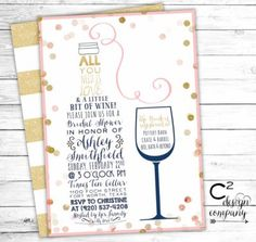 Wine tasting theme bridal shower invitations modern watercolor love a little bit of wine bridal shower invitation filmwisefo Image collections