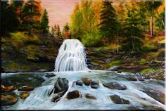 """This Canvas, Oil Painting of Sheephouse waterfall is 30""""x 20""""  location of this waterfall in Miramichi area NB on the Burchill road this waterfall is beautiful and easy to access"""
