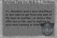 Survival Tips for NEST Rookies #51 (Series by the-autobot-headquarters on Tumblr)