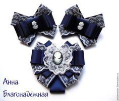 Купить Комплект с галстуком-брошью. - темно-синий, галстук-брошь, бантики, 1 сентября, школьный