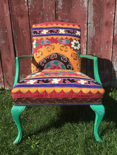Painted chair with Vintage suzani and silk by chezboheme on Etsy