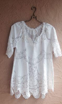 Beach boho Resort getaway cutwork romantic dress / Bohemian Angel