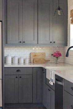 Refacing Kitchen Cabinets, Farmhouse Kitchen Cabinets, Kitchen Cabinets In Bathroom, Kitchen Cabinet Design, Shaker Cabinets, Kitchen Backsplash, Gray Cabinets, Kitchen Countertops, Kitchen Paint