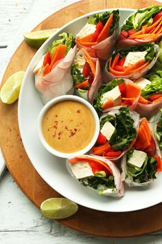 FRESH HEALTHY Thai Spring Rolls with Cashew Dipping Sauce! A 30-minute plantbased meal! #vegan #glutenfree #plantbased #thai #recipe #healthy