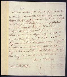 Last will and testament of Jane Austen.