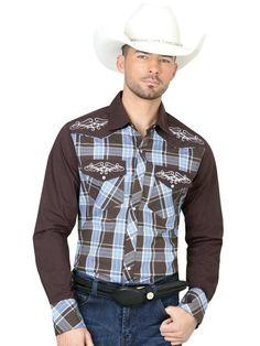 40544 Camisa Vaquera Manga Larga De Hombre 'El General', 65% Polyester,35% Algodon - Cafe