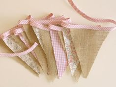 pretty decoration for parties or photography prop Fabric Bunting, Bunting Garland, Garlands, Burlap Bunting, Burlap Curtains, Buntings, Shower Bebe, Baby Shower, Vintage Party