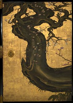 Detail. The Old Plum, Edo period (1615–1868), ca. 1645 A Kano Sansetsu (Japanese, ca. 1589–1651)
