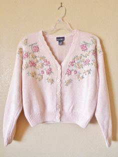 vintage BABY PINK cable knit cardigan by june22nd on Etsy, $25.60