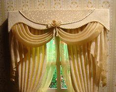 Miniature 01:12 rideaux de maison de poupée par TanyaShevtsova