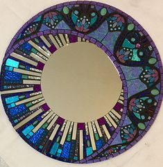 Best 11 Blue and Purple Round Glitter Glass Mosaic Mirror -Celestial Stained Glass Mirror, Stained Glass Birds, Mirror Mosaic, Mosaic Wall, Mosaic Glass, Glass Art, Mirror Mirror, Sea Glass, Tile Crafts