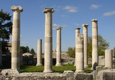 Examples of Roman-period Ionic columns from the civic basilica on the forum of Saepinum, Italy.