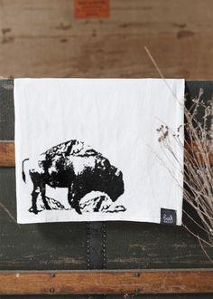 Living in North Dakota near a few buffalo Buffalo Farms gotta love it! flour sack towel by Bark Decor