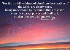 """""""For the invisible things of him from the creation of the world are clearly seen, being understood by the things that are made, even his eternal power and Godhead; so that they are without excuse."""" Romans 1:20 KJV  ✞Grace and peace in Christ!"""