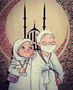kumpulan kartun romantis parf 2 - my ely Couple Musulman, Cute Couple Art, Cute Muslim Couples, Cute Couples, Hijab Drawing, Eid Cards, Ramadan Cards, Allah, Couple Sketch
