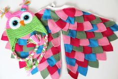 Colorful Baby owl costume. Pink green blue. Baby girl owl wings and onesie. Crochet owl hat included.  Shop | Repurposed Wool Studio