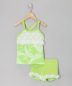 Take a look at this Lexu-Luu Green & White Paisley Tank & Shorts - Girls by Lexi-Luu Designs on #zulily today!