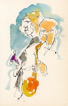watercolor Music | Todd-Wolfe-Shellie-Mitchell-ink-watercolor-musicians-chris-carter ...