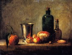 Seville Orange Silver Goblet Apples Pear and Two Bottles Painting by Jean Baptiste Simeon Chardin | Oil Painting
