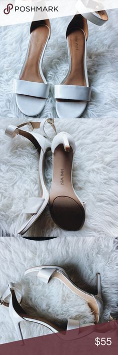 White Nine West Strap Heels worn once at graduation in almost perfect condition! beautiful and classy! they say size 10.5 womens but i am an 11 and they fit fine because of the open toe. i bought them for around $90.00   -bright white with a tan inside and gold hardware Nine West Shoes Heels