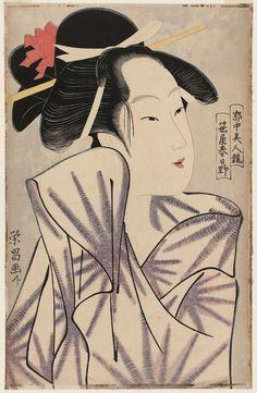 Kasugano of the Sasaya, from the series Contest of Beauties of the Pleasure Quarters (Kakuchû bijin kurabe), 1795-1797