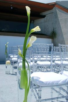 lovin the clear chairs! Excuse me Phantom chairs. Hurricane Centerpiece, Centerpieces, Plum Cushions, Clear Chairs, Chart House, Stone Barns, Chiavari Chairs, Wedding Ceremony Decorations, Calla Lily