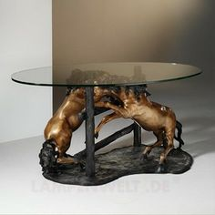 Coffee Table With Bronze Horse Statues SALICE 7540257