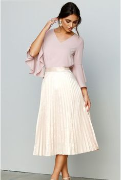 Very Lovely Skirts, Skirtsuits, and Dresses Skirt Outfits Modest, Pleated Skirt Outfit, Modest Skirts, Modest Wear, Dress Skirt, Teen Skirts, Fall Skirts, Satin Pleated Skirt, Gold Skirt