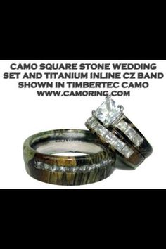 Camo wedding rings.  Keywords: #camoweddings #jevelweddingplanning Follow Us: www.jevelweddingplanning.com  www.facebook.com/jevelweddingplanning/
