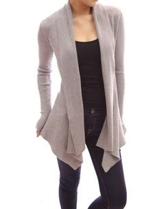 PattyBoutik Long Sleeves Cascading Open Front Sweater Cardigan (Gray L)  Patty a7199df83