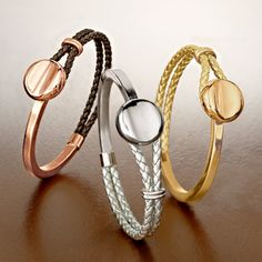 These Metallic Braided Leather Bracelets are luxe, yet laid-back. The more you stack, the cooler the look. Which ones would you wear: brown, silver or gold? >>Click on the pin to view our leather bracelet jewelry collection.