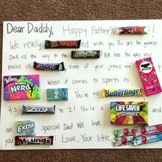 "Big Father's Day Card for Jared from his 4 ""little airheads"" :-) Great for any occasion, everyone loves a candy card! Homemade Fathers Day Gifts, Diy Gifts For Dad, Fathers Day Presents, Fathers Day Crafts, Daddy Gifts, Candy Birthday Cards, 30th Birthday Gifts, Dad Birthday, Birthday Crafts"