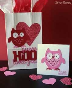 """Silver Boxes: """"Guess Hoo Loves You"""" Valentine Bag & Card"""