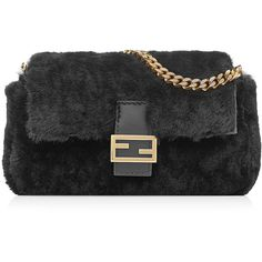 Fendi Micro Baguette Shearling Shoulder Bag (69,595 INR) ❤ liked on Polyvore featuring bags, handbags, shoulder bags, black, shoulder strap bags, shoulder handbags, fendi handbags, logo tote bags and tote handbags