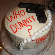 Murder mystery party cake