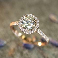 Halo engagement ring- 14k Rose Gold Halo Diamond Moissanite Engagement Ring in Half Eternity Diamond Wedding Band #halo #weddingring #engagementringsrosegold