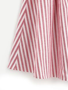 Buttoned Front Pleated Striped Skirt -SheIn(Sheinside)