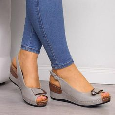 Item ID: Upper Material:Faux Leather Sandals Style:Wedge Sandals Shoes Style:Buckle Strap Toe Type:Peep Toe Gender:Women Style:Casual Color:Brown,Gray Shipping Receiving time = Proce. Peep Toe Wedges, Wedge Sandals, Leather Sandals, Strap Sandals, Shoe Wedges, Womens Shoes Wedges, Pu Leather, Trendy Sandals, Women Sandals